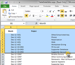 Import to Dashboards from Excel