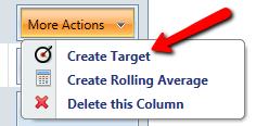 image of user selecting create target