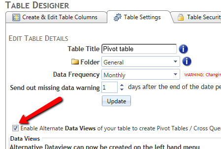how to enable alternate data views in table designer interface